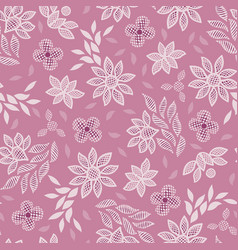 pink floral lace embroidery seamless vector image