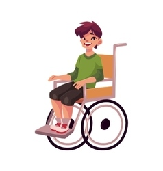 Portrait of happy school kid sitting in wheelchair vector
