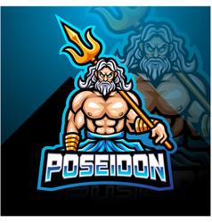Poseidon esport mascot logo design with trident we vector