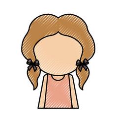 Scribble faceless women avatar icon vector