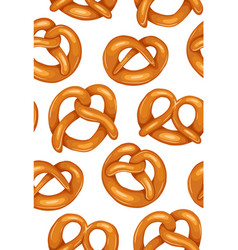 seamless pattern with various cartoon pretzels vector image