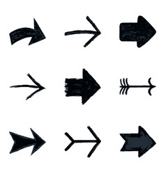 Set arrow sign black texture paint vector