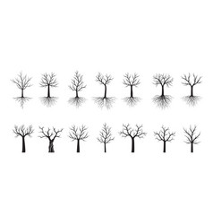 Set black trees with roots outline vector