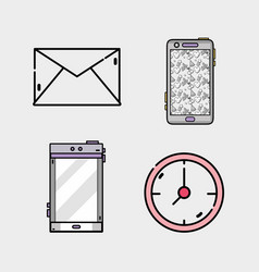Set business icons app message vector