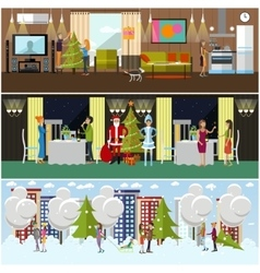 Set of banners with New Years celebration vector