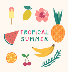 set tropical summer elements ice cream fruits vector image