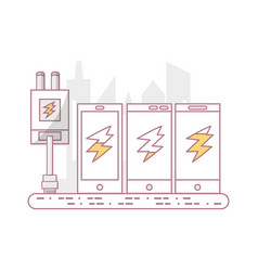 Smartphones plug in charger battery vector
