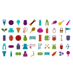 sport equipment icon set color outline style vector image