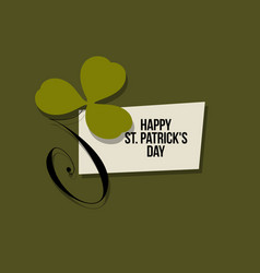 st patricks day card with leaf of green clover vector image