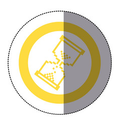 Sticker yellow circular frame with pixel hourglass vector