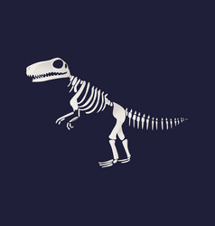 t-rex dinosaur fossil skeleton icon on blue vector image