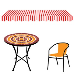 Table chair and awning vector