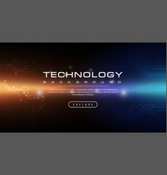 Technology banner dark blue background concept vector