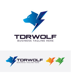 thunder wolf logo vector image