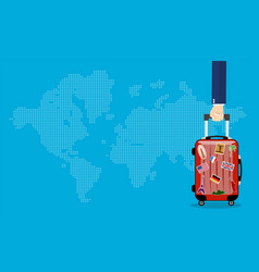 Travel bag in hand vector
