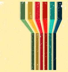 vintage background with colored stripes vector image