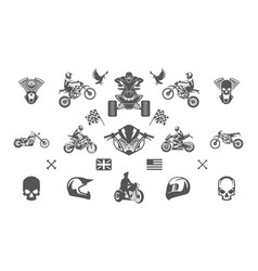 vintage custom motorcycles silhouettes and icons vector image