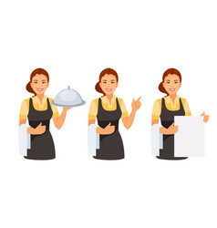 waitress set vector image