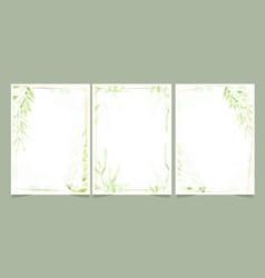watercolor green leaves with golden frame on vector image