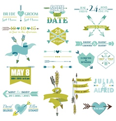 Wedding graphic set arrows feathers heart ribbons vector
