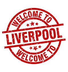 welcome to liverpool red stamp vector image