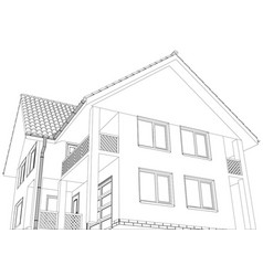 wire-frame building on the white background vector image