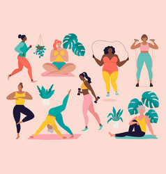Women different sizes ages and races activities vector