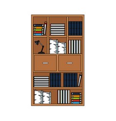 Wooden bookcase with elements vector