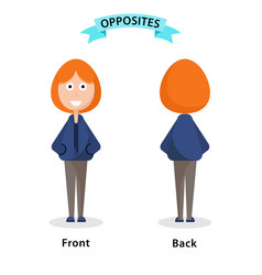 Wordcard for front and back antonyms and opposites vector