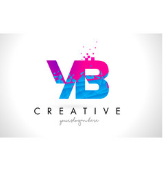 yb y b letter logo with shattered broken blue vector image