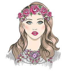 Young girl fashion Girl with flowers in her hair vector image