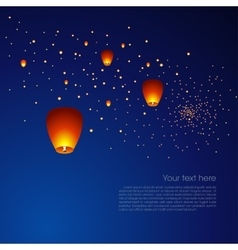 Chinese sky lanterns in a dark night background vector image vector image