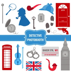 Detective Sherlock Party set - photobooth props vector image vector image