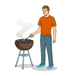 Man and barbecue pop art vector