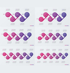 set of timeline infographic design with ellipses vector image