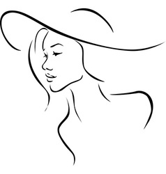 Beautiful young woman with hat profile - black vector image vector image