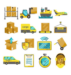 cargo icon set isolated airplane harbor vector image vector image
