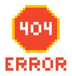 Error page 404 pixel retro game style vector