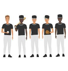 flat school baseball guys team in uniform vector image vector image