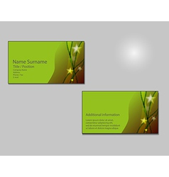Green Business card layout with green stars on vector image vector image