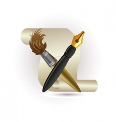 Paper pen and brush vector