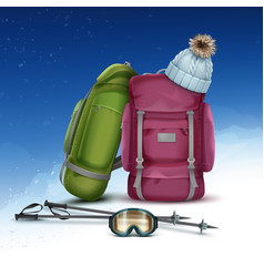 winter climbing packs vector image vector image