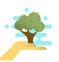 abstract hand holding tree Concept for forest vector image