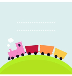 Colorful childish Train on hill with copy space vector image