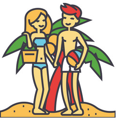 Couple on beach summer vacation happy young vector