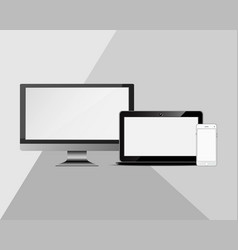 set of realistic computer monitors and mobile vector image