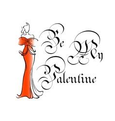 Vintage be my valentine greeting card vector image