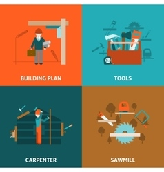 Carpenter concept 4 flat icons square vector image vector image