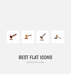 Flat icon hammer set of tribunal justice hammer vector