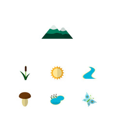 icon flat ecology set of butterfly mountain sun vector image